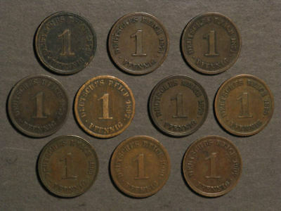 GERMANY 1874-1907 1 Pfennig - Lot of 10 Different Coins