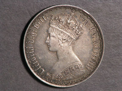 GREAT BRITAIN 1853 1 Florin Victoria Silver VF-XF