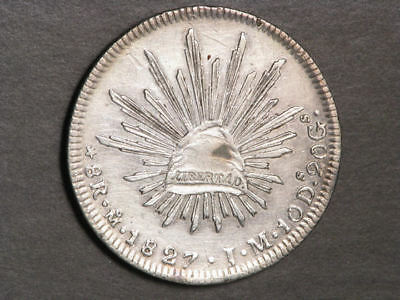 MEXICO 1827MoJM 8 Reales Silver Crown VF-XF