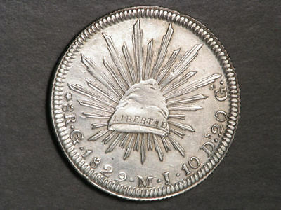 MEXICO 1829GoMJ 8 Reales Silver Crown VF-XF