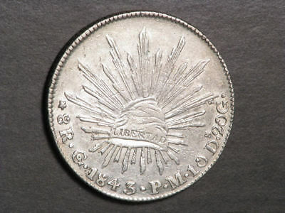 MEXICO 1843GoPM 8 Reales Silver Crown XF-AU