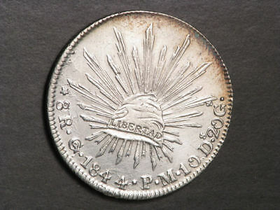 MEXICO 1844GoPM 8 Reales Silver Crown XF-AU
