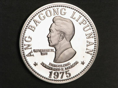 PHILIPPINES 1975 50 Piso Marcos Silver Crown Proof