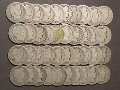 USA 1892-1916 25 Cents Barber Silver - 40 Mixed Dates AG-Good