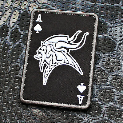 Aufnäher Patch Klett Biker Wikinger Viking Ace of Spades Poker Pik Ass Airsoft