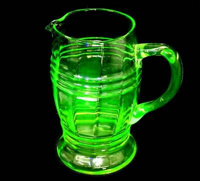 Vintage large art deco green uranium glass UV glow large  jug