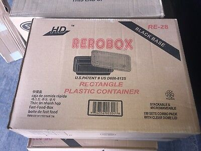 28 oz Black Rectangular Microwavable Plastic Container & Lid 150ct  PICK UP ONLY
