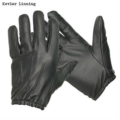 """""""made with Kevlar"""" Anti Slash Fire Resistant Black Leather Gloves Security SIA"""