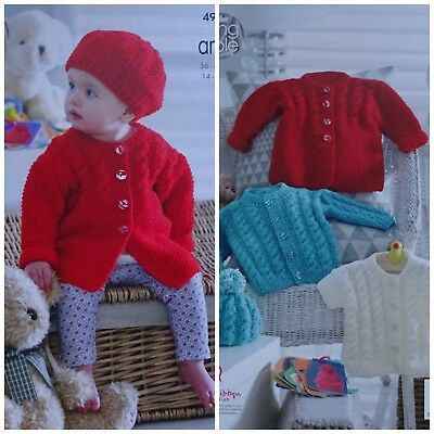 Baby KNITTING PATTERN Babies Cable Coat Cardigan Jacket & Hat Aran KingCole 4947