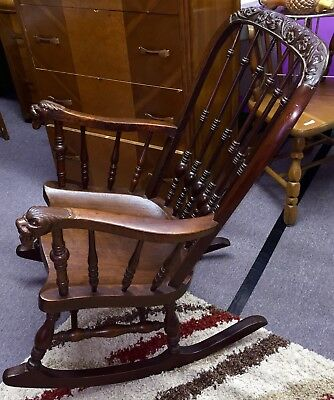 Antique Old Edwardian? Rocking Chair / Rocker With Lion Head Arms, Local PA PU