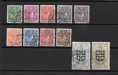 1949 King George VI SG146 to SG156 short set of 11 Stamps Used ST LUCIA