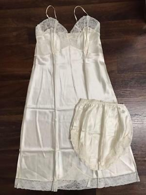 **VINTAGE LINGERIE SET - Petticoat/Nightie & Full Panty NEVER WORN Cream Size 16