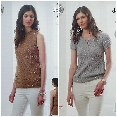 KNITTING PATTERN Ladies Long Sleeveless Top & Short Sleeve Jumper Galaxy DK 4984