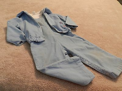 Vintage 1970's Toddler Boy's Blue Corduroy Hooded Jacket and Overalls Pant Set