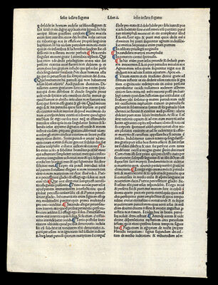 1485 Incunable Leaf Ubertinus de Casali's Meditation on The Passion of Our Lord