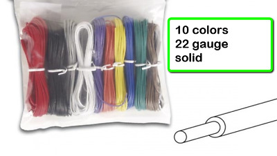 WK-100BKX Hook-Up Wire -Solid-22 Gauge-100 ft -10 Assorted Colors