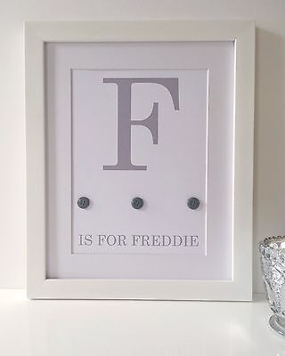 Personalised Baby Nursery Name Print Child Birth Gift Picture Newborn Gift Grey