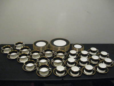 Excellent 81 Pc Set Of Royal Coalport China In The Athlone Brown Pattern