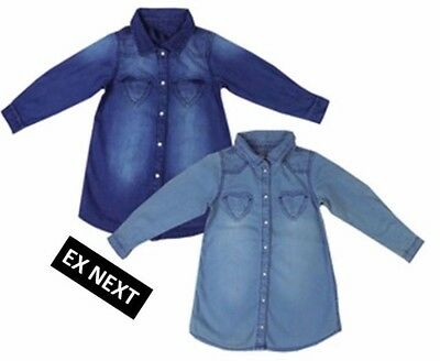 Girls Ex Next Short Long Sleeve Denim Tunic Top Shirt - 2 Shades Available