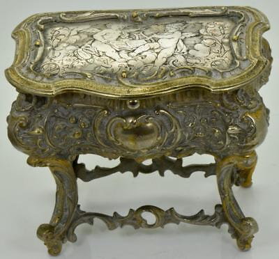 Antique 19th Century Victorian hand engraved silver plated bronze jewellery box