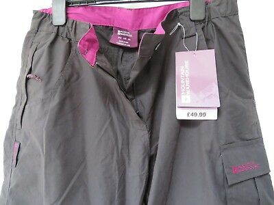 New With Tags Mountain Warehouse Black Ladies Size 12 Trousers/shorts Rrp £49.99