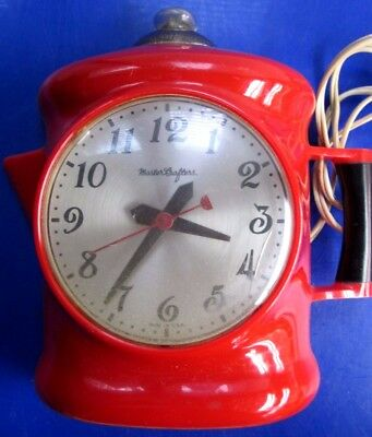 VTG Mastercrafters  RED PERKY Coffee Pot Clock Model # 470-WORKS!