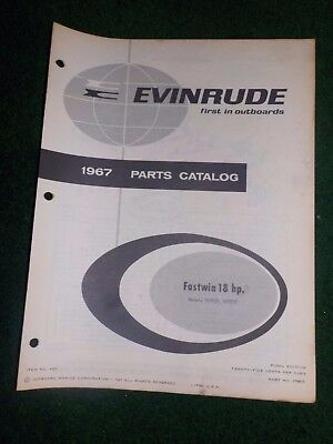 1967 OMC Evinrude Outboard Parts Catalog Manual 18 HP Fastwin Final Edition