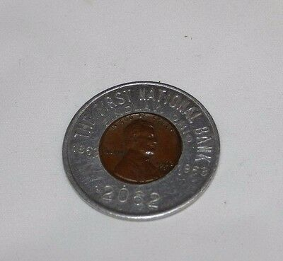 The First National Bank Findlay Ohio Encased Luck Penny 1962 Free Shipping.