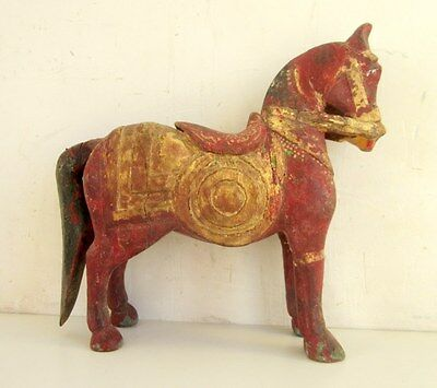 Antique Old Rare Hand Carved Wooden Home Decorative Indian Horse Figure Statue