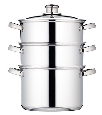 KitchenCraft Induction-Safe Stainless Steel 3-Tier Food Steamer Pan / Stock P...