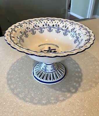 """Danish-style Raised Pedestal Porcelain Bowl Blue White 10"""" Wide by 7"""" High"""