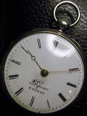 silberne Spindeluhr, signiert Lepine a Paris. läuft gut, verge pocket watch,