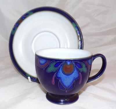 Denby Pottery Baroque Pattern Tea Cup and Saucer made in Stoneware
