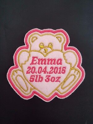 Personalised Embroidered Teddy Bear Baby Name Patch Badge iron on