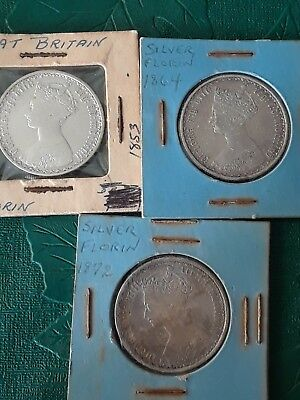 1853  1872 and 1864 silver one florin