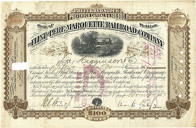 Flint & Pere Marquette Railroad Stock Certificate Issued 1889, C&O RR Railway