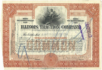 Illinois Traction Co Stock Certificate Issued 1923 Common, RR Railway Railroad