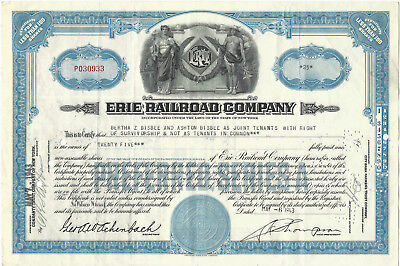 Erie Railroad Stock Certificate Issued 1943 Preferred Series A Blue, RR Railway