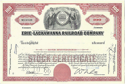 Erie-Lackawanna Railroad Stock Certificate Issued 1965 Common Red, EL RR Railway