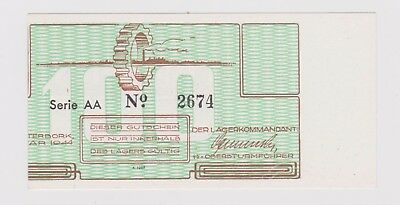 Netherlands Westerbork 100 cent 1944 miscut Unc PNL (285) with watermark Scarce!