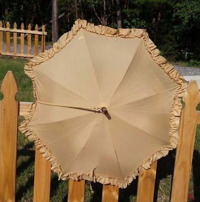 Frilly Tan Parasol Umbrella With Rope Strap / Vintage Original Super Cute Works!