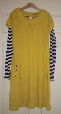 Mini Boden Dress Tunic Yellow, Stripe Sleeves Age 11-12 years UNWORN