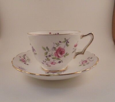 Crown Staffordshire Cup & Saucer Pink Roses & Purple Flowers F7295