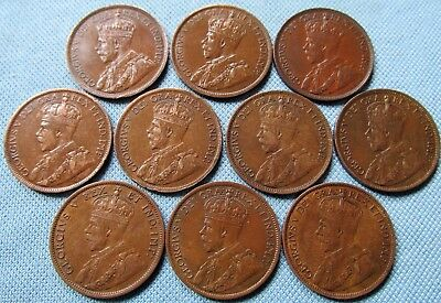 Lot of 10 Canada Large Cents King George V Date Run 1911-1920 Nice Detail Group