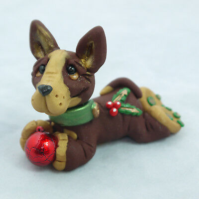 Holiday Holly Miniature Pinscher Red Collectible Dog Figurine Christmas XMASOOAK