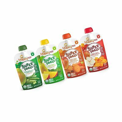 Happy Tot Organic Stage 4 Super Foods 4 Flavor Variety Pack 4.22 Ounce (Pack ...