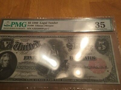 1880 $5 Legal Tender Woodchopper PMG 35. Nice Note looks xf