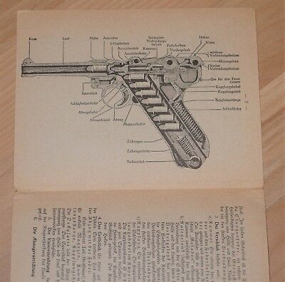 German Army P08 Luger Pistol Training Instruction Card, manual pistole 9mm