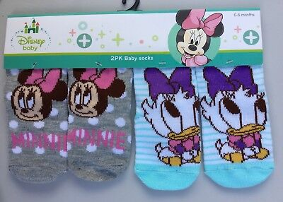 Baby Girl 2 Pack Socks with Grey Minnie Mouse & Striped Daisy Duck detail.
