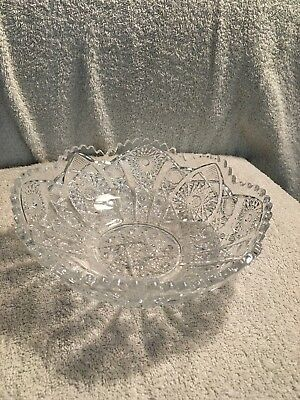 Vintage Cut Press Glass Bowl - Nice Quality 8 Inch - Beautiful Bowl!
